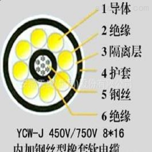 行车橡套电缆5×6+3×1.5 YC-J行车电缆5×4