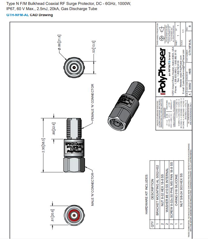 宽频带通直流防雷器